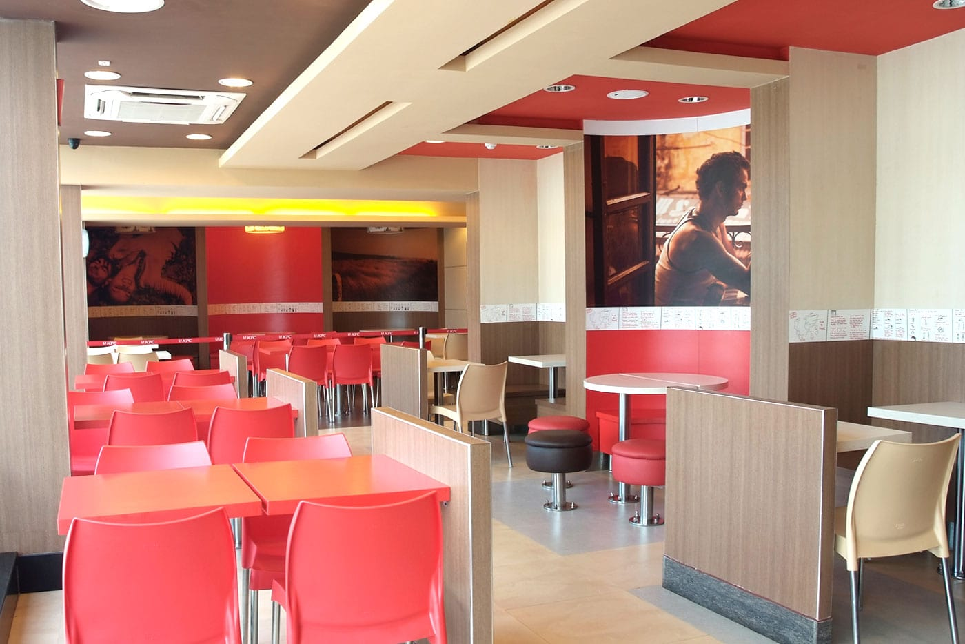 kfc restaurant red color theme setup perspective view