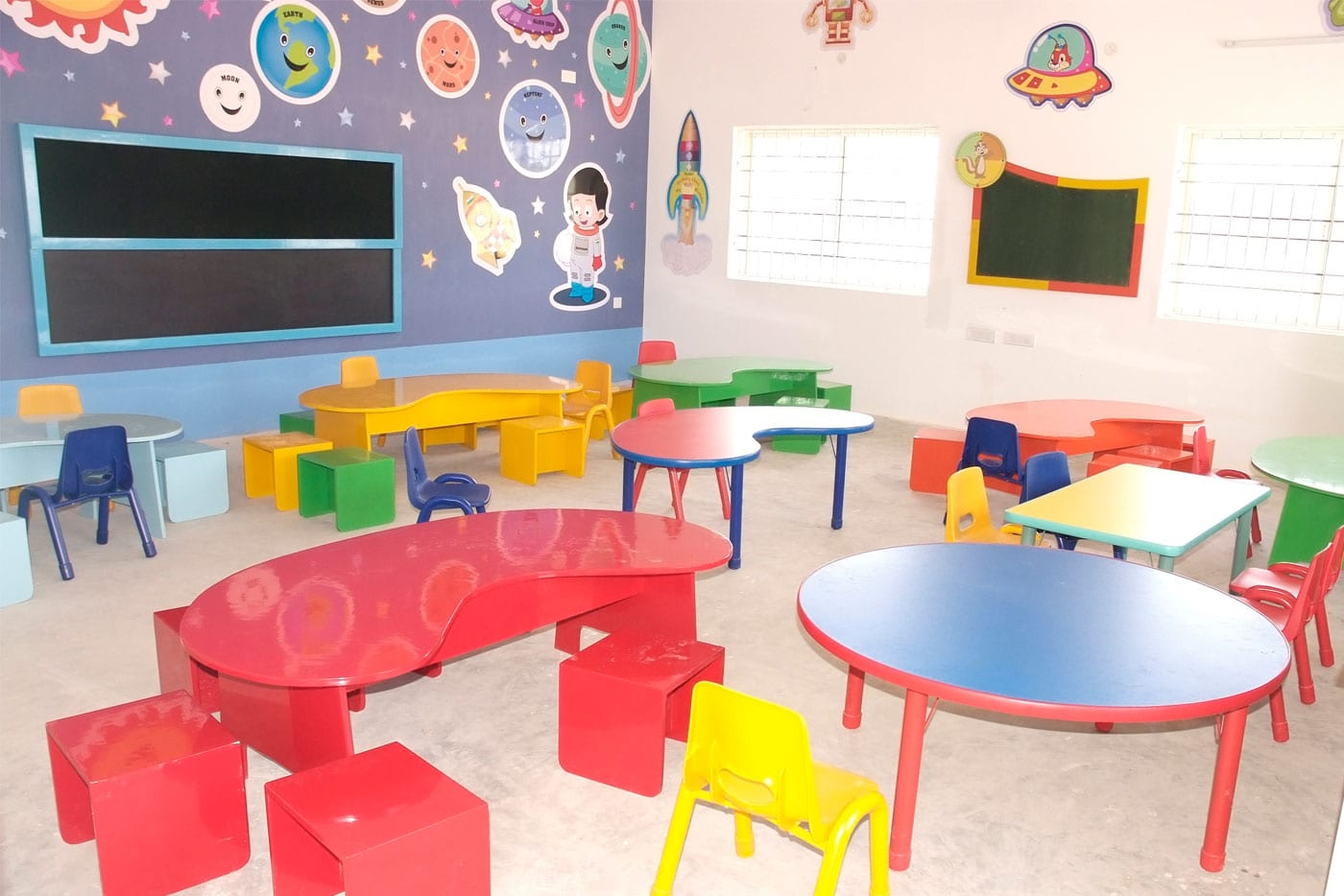 Play School red color theme table and chairs