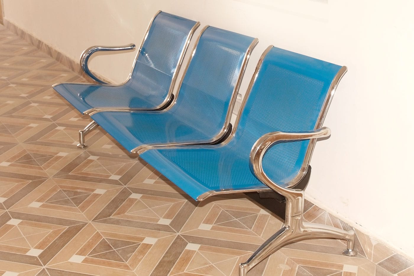 Sri Krish International Blue color Steel Chairs for Visitors